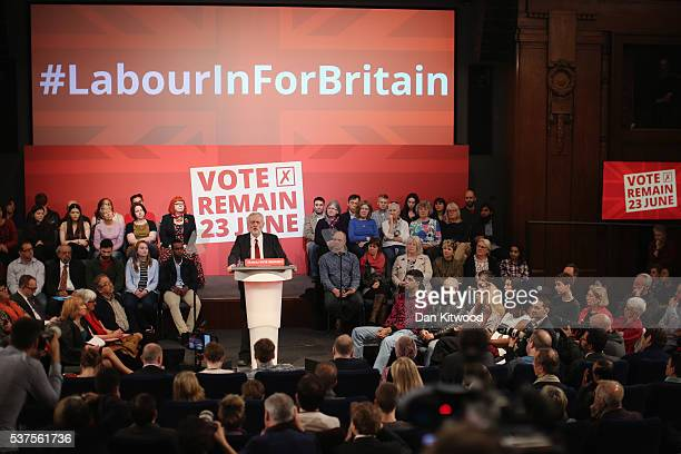 Labour leader Jeremy Corbyn speaks to an audience at the Institute of Engineering and Technology on June 2 2016 in London England Mr Corbyn's speech...