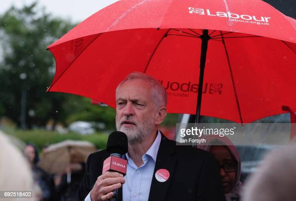 Labour Leader Jeremy Corbyn speaks to party supporters as he campaigns in Hemlington at the Detached Youth Work Project on June 5 2017 in...