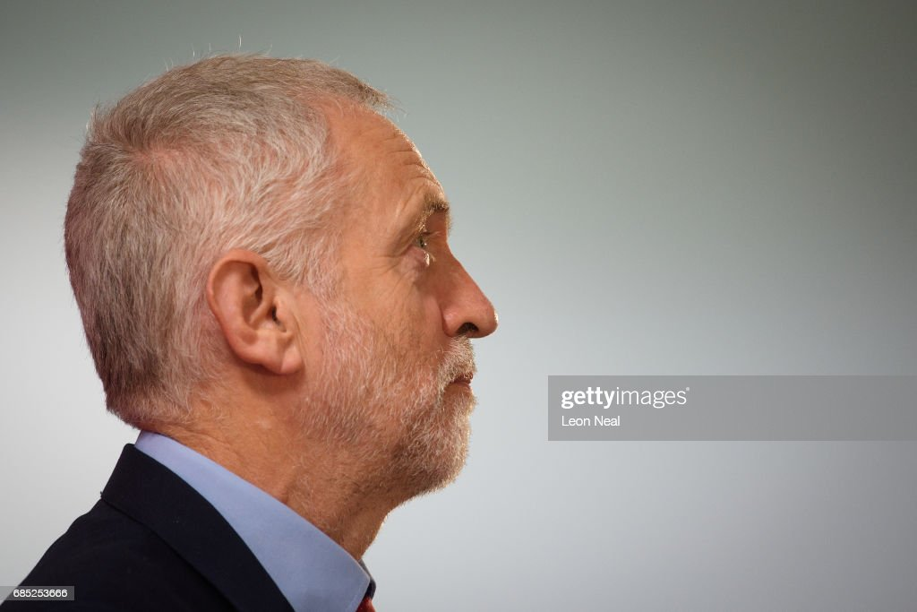 Labour leader Jeremy Corbyn speaks to supporters at a rally on May 19, 2017 in Peterborough, England. Britain goes to the polls on June 8 to elect a new parliament in a general election.