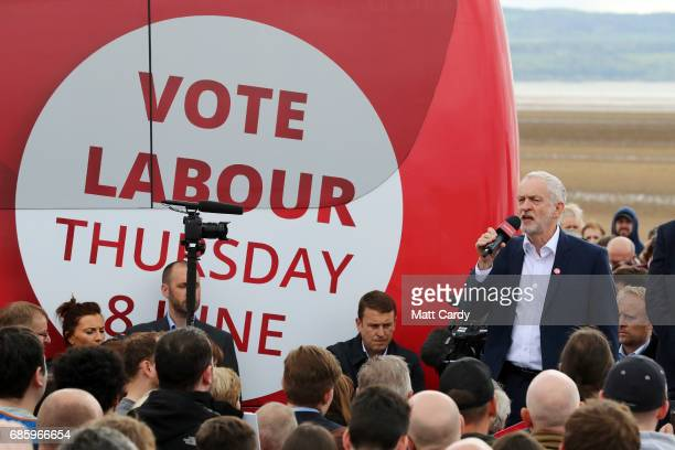 Labour Leader Jeremy Corbyn speaks to supporters during a campaign visit in West Kirby on May 20 2017 in the Wirral in Merseyside England All...