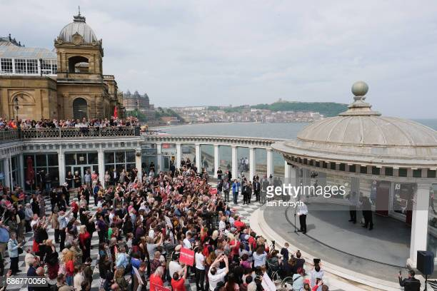 Labour Leader Jeremy Corbyn speaks to supporters during a visit to the Spa buildings on Scarborough seafront as he campaigns for the upcoming general...