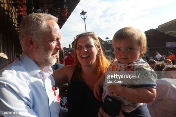 Labour Leader Jeremy Corbyn speaks to supporters outside The Junction Paradise Place as he campaigns for the upcoming general election on May 22 2017...