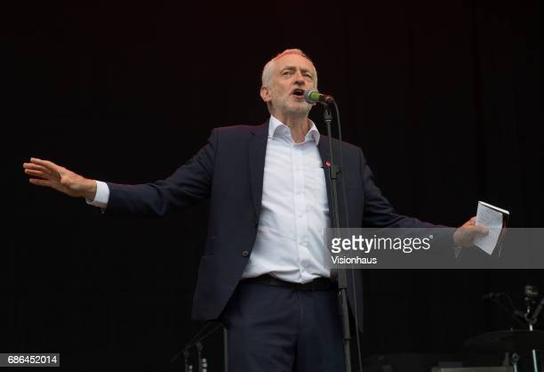 Labour leader Jeremy Corbyn speaks to the crowd at Wirral Live at Prenton Park on May 20 2017 in Birkenhead England