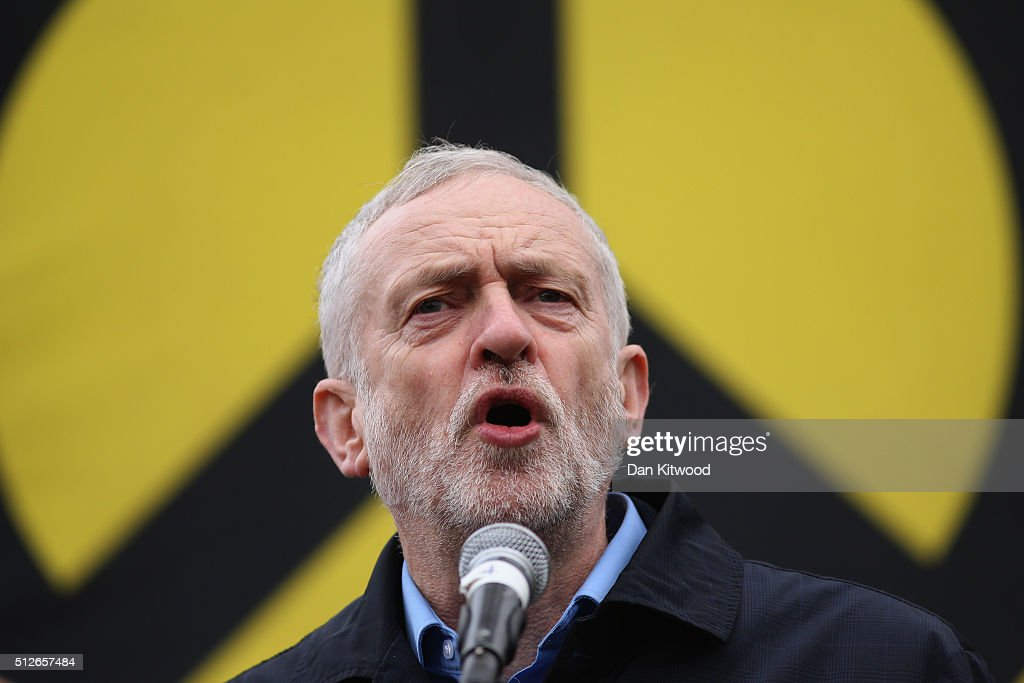 Labour Leader Jeremy Corbyn speaks to the crowds from Trafalgar Square after a 'Stop Trident' march though central London on February 27, 2016 in London, England. The leaders of three political parties will attend the march today. Labour leader Jeremy Corbyn, SNP leader Nicola Sturgeon and Plaid Cymru leader Leanne Wood are expected to speak to thousands of protesters in support of the Stop Trident campaign.