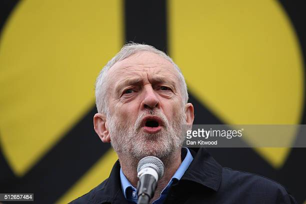 Labour Leader Jeremy Corbyn speaks to the crowds from Trafalgar Square after a 'Stop Trident' march though central London on February 27 2016 in...