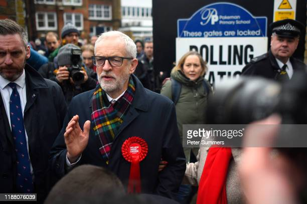 Labour leader Jeremy Corbyn speaks to the media outside the polling station at Pakeman Primary School Holloway on December 12 2019 in London England...
