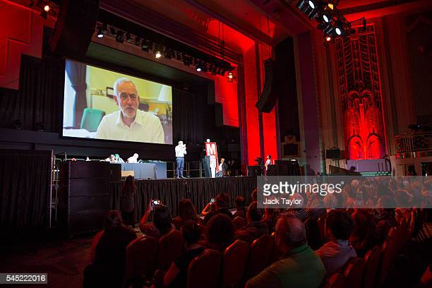 Labour Leader Jeremy Corbyn speaks via video to a Momentum rally at The Troxy on July 6 2016 in London England Mr Corbyn today apologised on behalf...