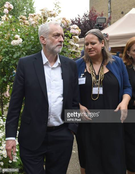 Labour leader Jeremy Corbyn speaks with Clare Richards Chief Executive of the Clement James Centre as he arrives at St Clement's Church in west...