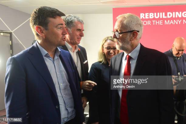 Labour leader Jeremy Corbyn speaks with Mayor of Manchester Andy Burnham ahead of a shadow cabinet meeting on September 02 2019 in Salford England...