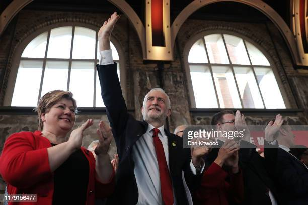 Labour leader Jeremy Corbyn standing next to Shadow Foreign Secretary Emily Thornberry arrives to give his election campaign speech on October 31...