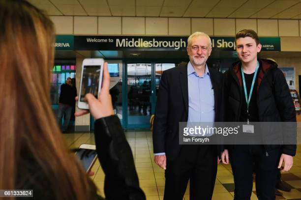 Labour leader Jeremy Corbyn stops for a picture with fellow travellers as he takes a ride on the number 36 bus from Middlesbrough to Stockton on Tees...