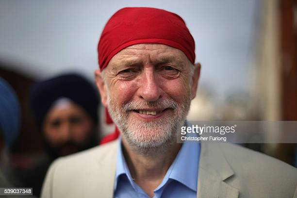 Labour Leader Jeremy Corbyn takes part in a community meeting at the Guru Har Rai Gurdwara Sahib temple on June 9 2016 in West Bromwich England The...