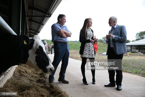 Labour leader Jeremy Corbyn talking to Farm Manager Scott Kirby during his visit to Harper Adams University Newport Corbyn came under attack from...