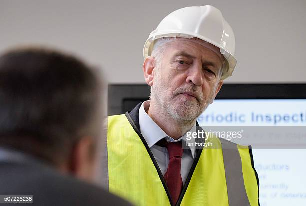 Labour leader Jeremy Corbyn talks to former SSI steelworkers as he visits the Science Technology Engineering and Maths further education college on...