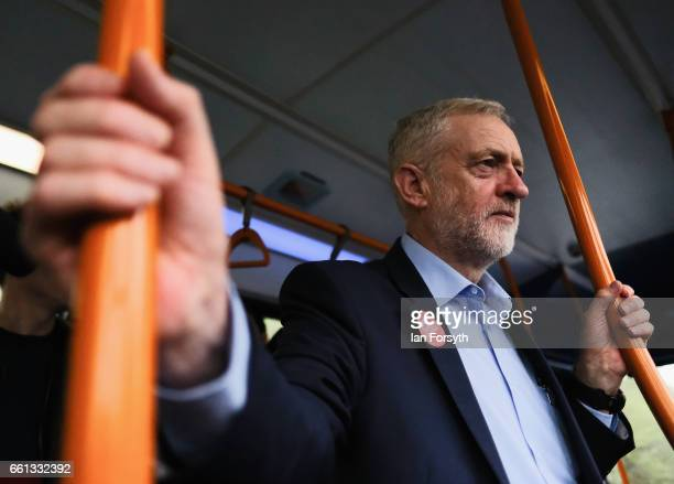 Labour leader Jeremy Corbyn travels on the number 36 bus from Middlesbrough to Stockton on Tees on March 31 2017 in Middlesbrough England During the...
