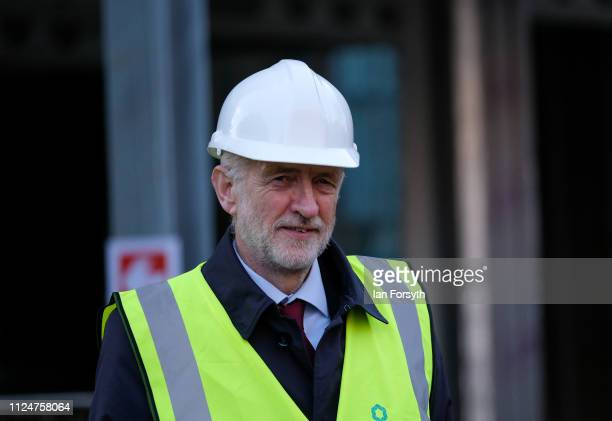 Labour leader Jeremy Corbyn visits a ew building development in Middlesbrough Centre Square on January 25 2019 in Middlesbrough England The visit to...
