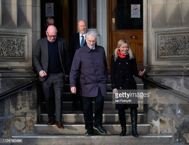 Labour leader Jeremy Corbyn visits Middlesbrough Centre Square on January 25 2019 in Middlesbrough England The visit to Teesside was to show support...