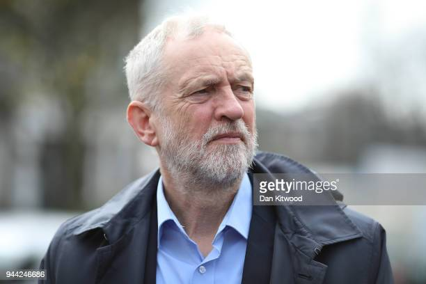 Labour leader Jeremy Corbyn visits Peckwater Estate on April 10 2018 in London England 35 people have been fatally stabbed in the UK capital since...