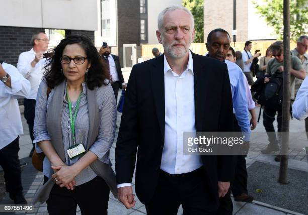 Labour leader Jeremy Corbyn visits the scene of a terror attack in Finsbury Park in the early hours of this morning on June 19 2017 in London England...