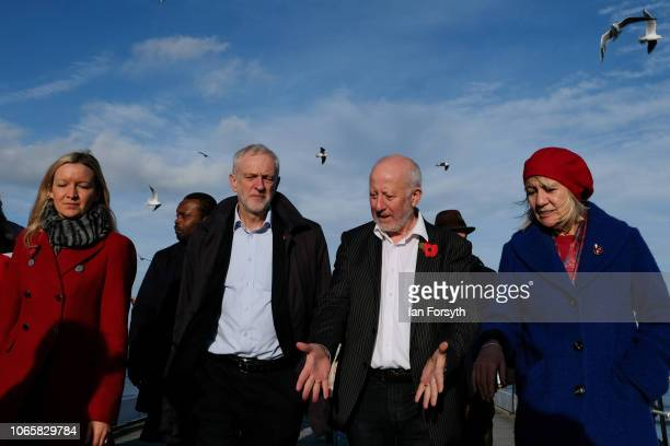 Labour leader Jeremy Corbyn walks along Saltburn pier with Lauren Dingsdale Labour's Parliamentary Candidate for Middlesbrough South and East...