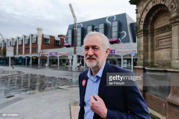 Labour leader Jeremy Corbyn walks through Stockton high street on March 31 2017 in Middlesbrough England During the visit he was also joined by...