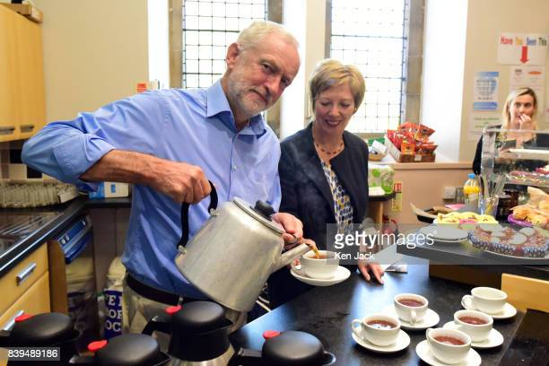 Labour Leader Jeremy Corbyn watched by Lesley Laird MP pours tea for pensioners at a community centre in St Bryce Church where former Prime Minister...