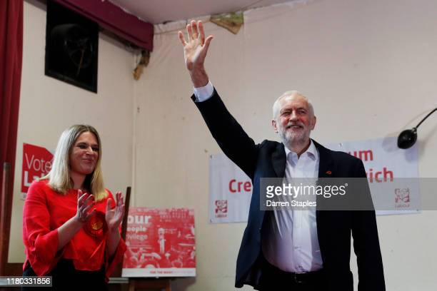 Labour leader Jeremy Corbyn waves during a visit to Crosville Social Club whilst on the General Election campaign trail on November 6 2019 in Crewe...