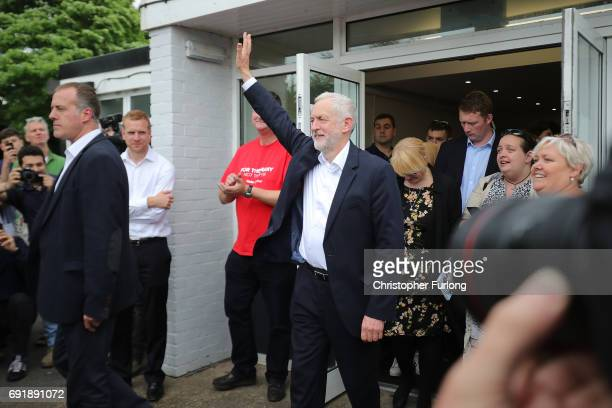 Labour leader Jeremy Corbyn waves to supporters after a rally of supporters at Beeston Youth and Community Centre he visits the East Midlands during...