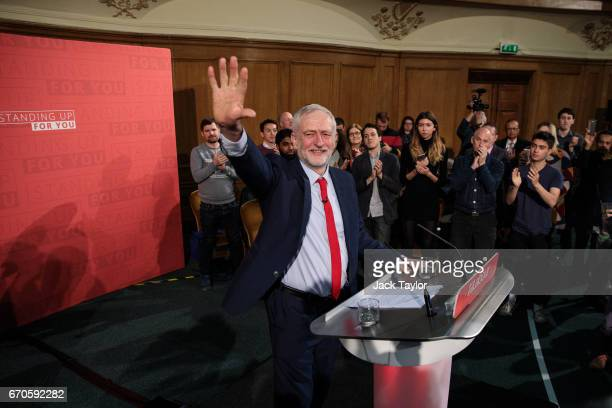 Labour Leader Jeremy Corbyn waves to supporters as he arrives to make his first campaign speech of the 2017 general election at Assembly Hall in...