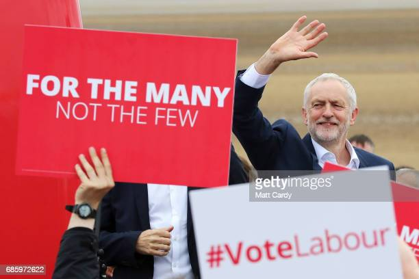 Labour Leader Jeremy Corbyn waves to supporters during a campaign visit in West Kirby on May 20 2017 in the Wirral in Merseyside England All...