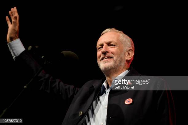 Labour leader Jeremy Corbyn addresses a Labour Party Rally at Pier Head on September 22 2018 in Liverpool England Labour's official slogan for the...