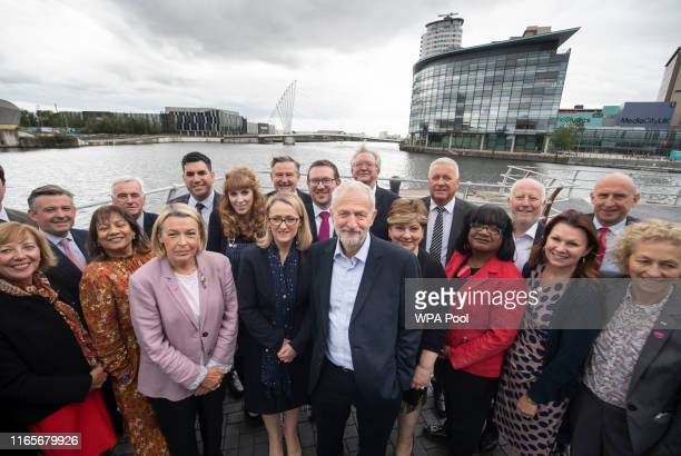 Labour leader Jeremy Corbyn with members of his shadow cabinet pose following a shadow cabinet meeting at the Lowry Theatre in The Quays on September...