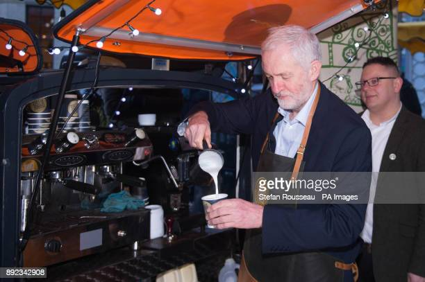 Labour leader Jeremy Corbyn works a shift on the Change Please coffee cart in Borough Market London to raise awareness of homelessness