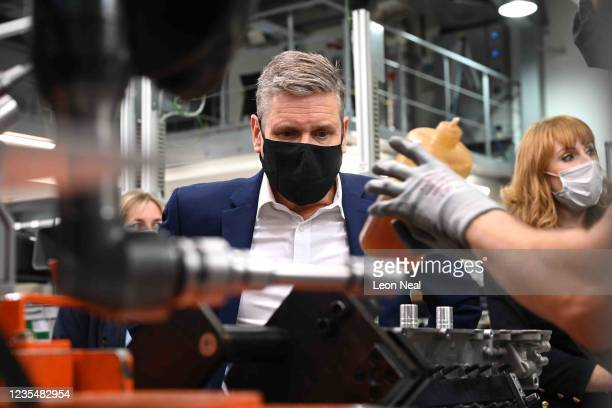 Labour Leader Keir Starmer and Deputy Leader Angela Rayner visit Ricardo PLC Engineering ahead of the Labour Party Conference on September 25, 2021...
