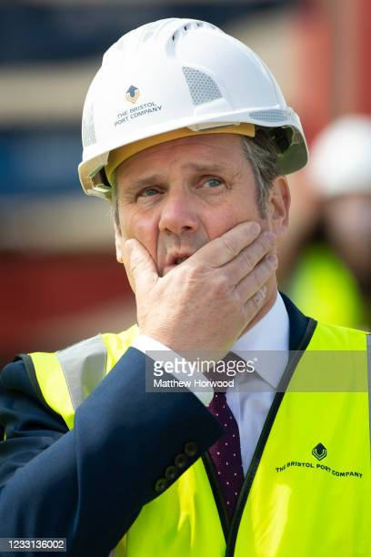 Labour leader Keir Starmer holds his hand to his head during a visit to Royal Portbury Docks on May 27, 2021 in Bristol, England. The West of...
