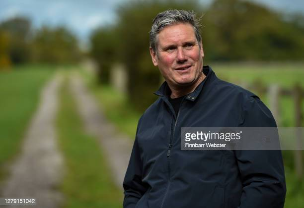 Labour leader Keir Starmer is shown around Barford Park Farm by NFU President Minette Batters on October 08, 2020 in Salisbury, England.