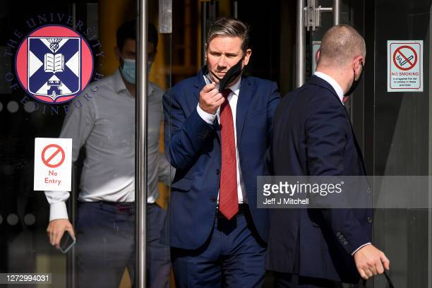 Labour leader Keir Starmer leaves the Chancellor's Building at The University of Edinburgh to be interviewed during his first visit to Scotland since...