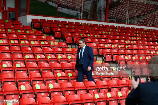 Labour Leader Keir Starmer looks at social distanced seating during a visit of Walsall Football Club on September 19 2020 in Walsall England Starmer...