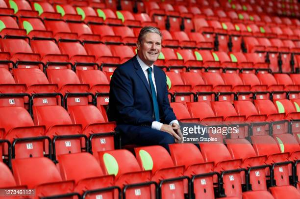 Labour Leader Keir Starmer sits in social distanced seating during a visit of Walsall Football Club on September 19 2020 in Walsall England Starmer...