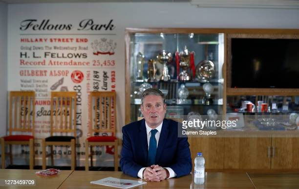 Labour Leader Keir Starmer sits in the board room during a visit of Walsall Football Club on September 19 2020 in Walsall England Starmer visited the...