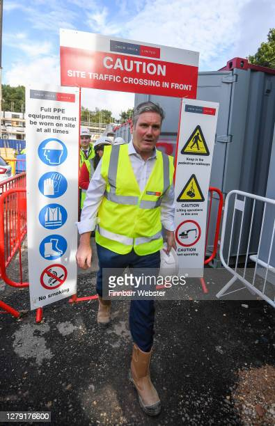 Labour leader Keir Starmer visits Oaklands Housing Development on October 08, 2020 in Southampton, England. The labour leader was accompanied by...