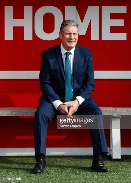 Labour Leader Keir Starmer watches a children's training session from a dugout during a visit of Walsall Football Club on September 19 2020 in...