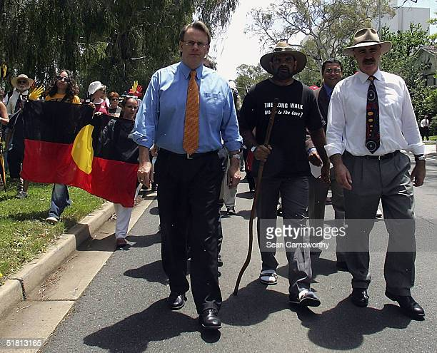Labour leader Mark Latham joins former AFL player Michael Long on his walk into Canberra during his 660km journey to Canberra called The Long Walk to...