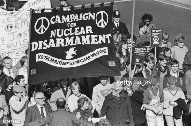 Labour leader Michael Foot at a Campaign for Nuclear Disarmament Rally in London 23rd October 1983