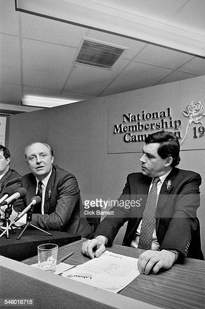 Labour leader Neil Kinnock with MP Gordon Brown at the launch of the Labour Party Membership Campaign London 1989
