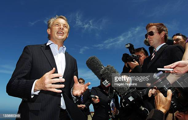Labour leader Phil Goff speaks to media at Brooklyn Wind Turbine on November 22, 2011 in Wellington, New Zealand. New Zealanders will head to the...