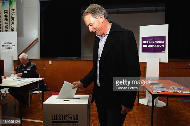 Labour leader Phil Goff votes at Wesley Intermediate School during the 2011 General Election on November 26, 2011 in Auckland, New Zealand. Today's...