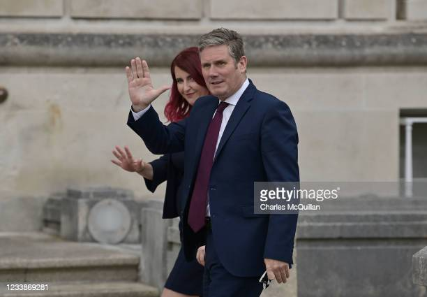 Labour leader Sir Keir Starmer arrives alongside shadow Northern Ireland secretary of state Louise Haigh at Stormont as they meet leaders of Northern...