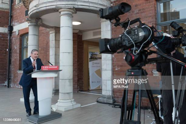 Labour leader Sir Keir Starmer delivers his keynote speech during the party's online conference from the Danum Gallery, Library and Museum on...