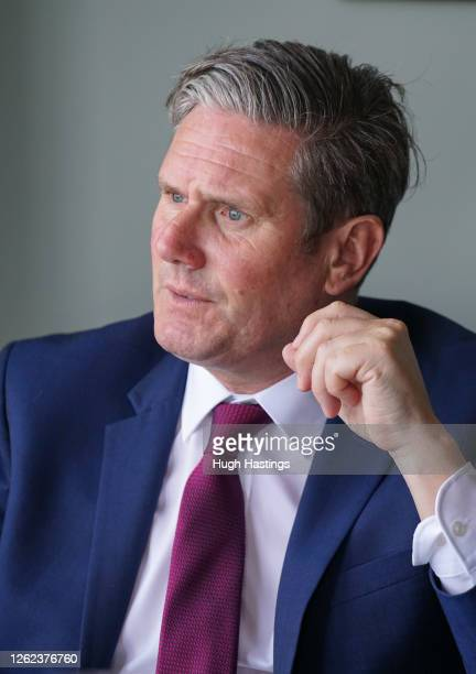 Labour Leader Sir Keir Starmer during a meeting with local business leaders at the Chainlocker pub in Falmouth where he spoke to local businesses...